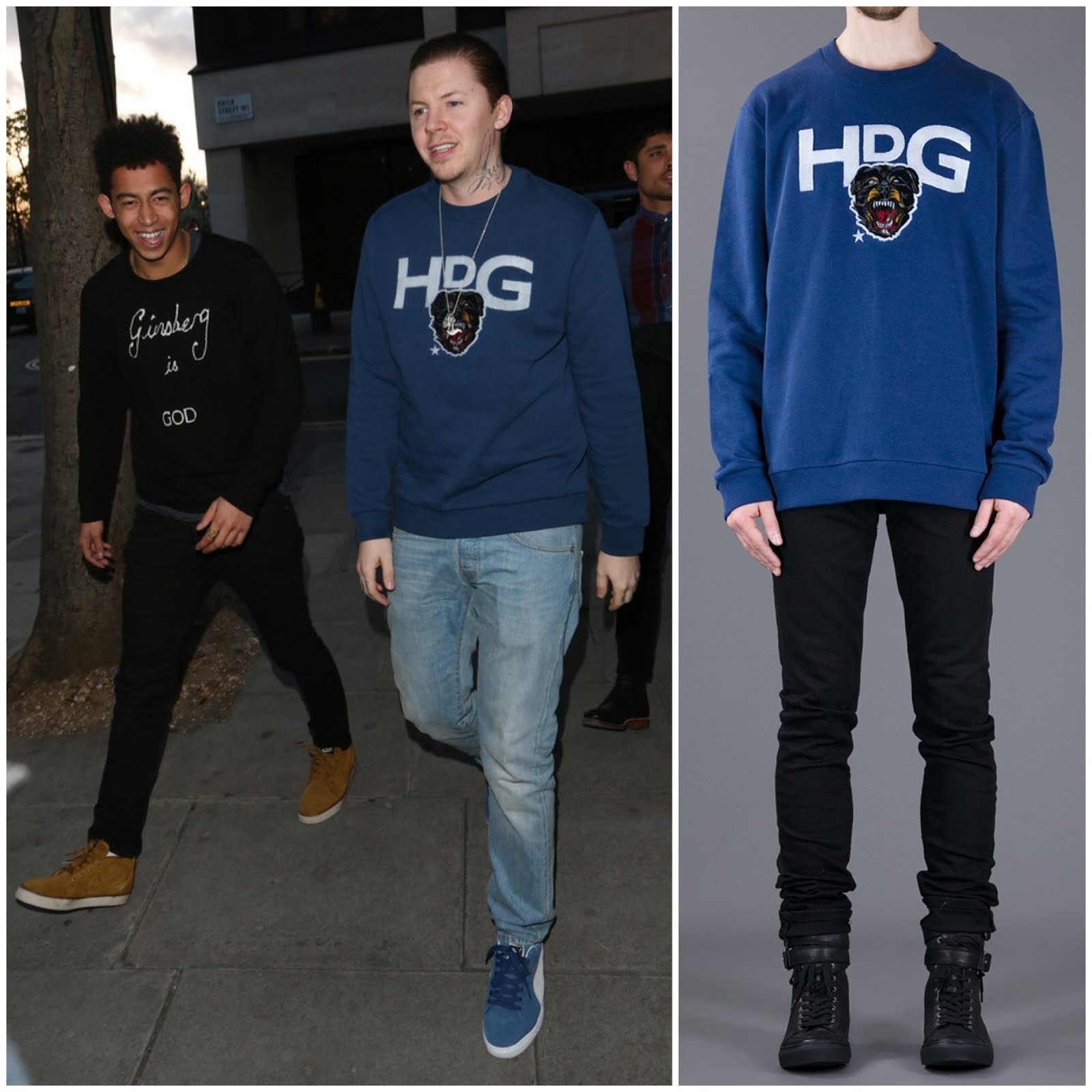 00O00 Menswear blog: Professor Green in Givenchy HDG Rottweiler sweatshirt - The Baroque Cabaret Troupe: The Promo Affair - VIP launch at the Playboy club in London April 2013