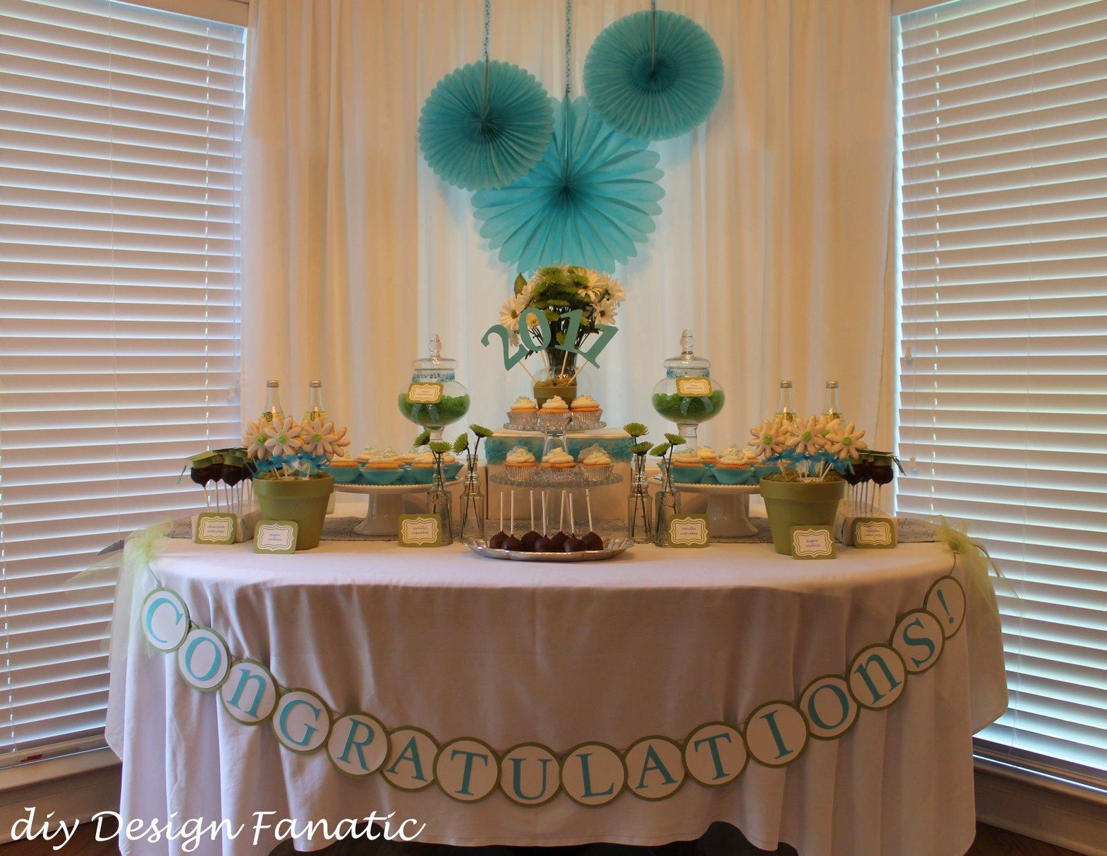 Diy design fanatic graduation dessert table for Homemade table decorations