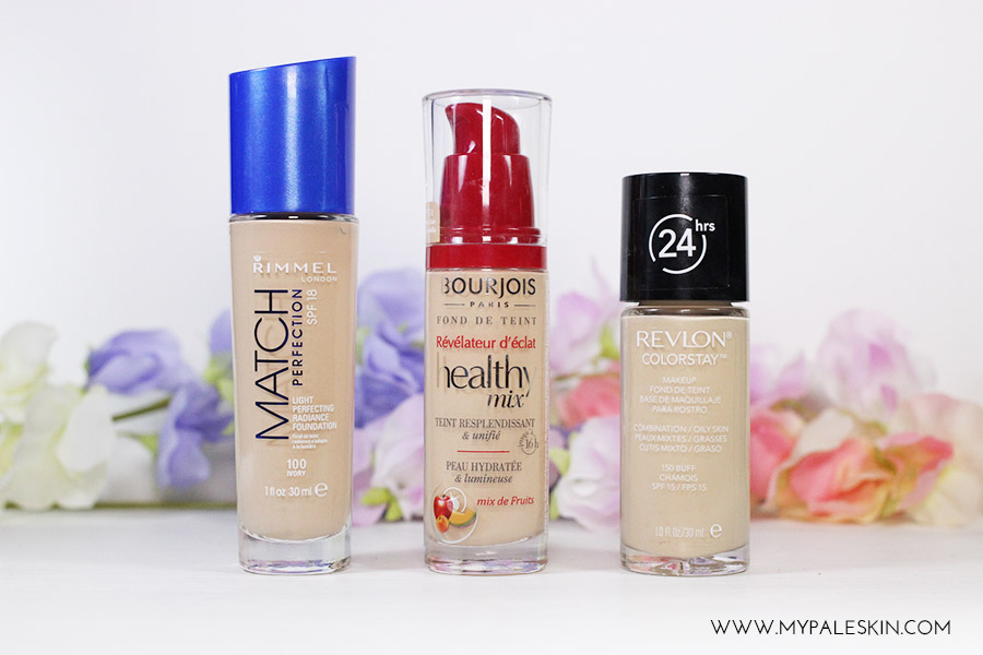 Revlon match perfection, bourjois Healthy mix foundation, revlon colourstay foundation pale skin foundation