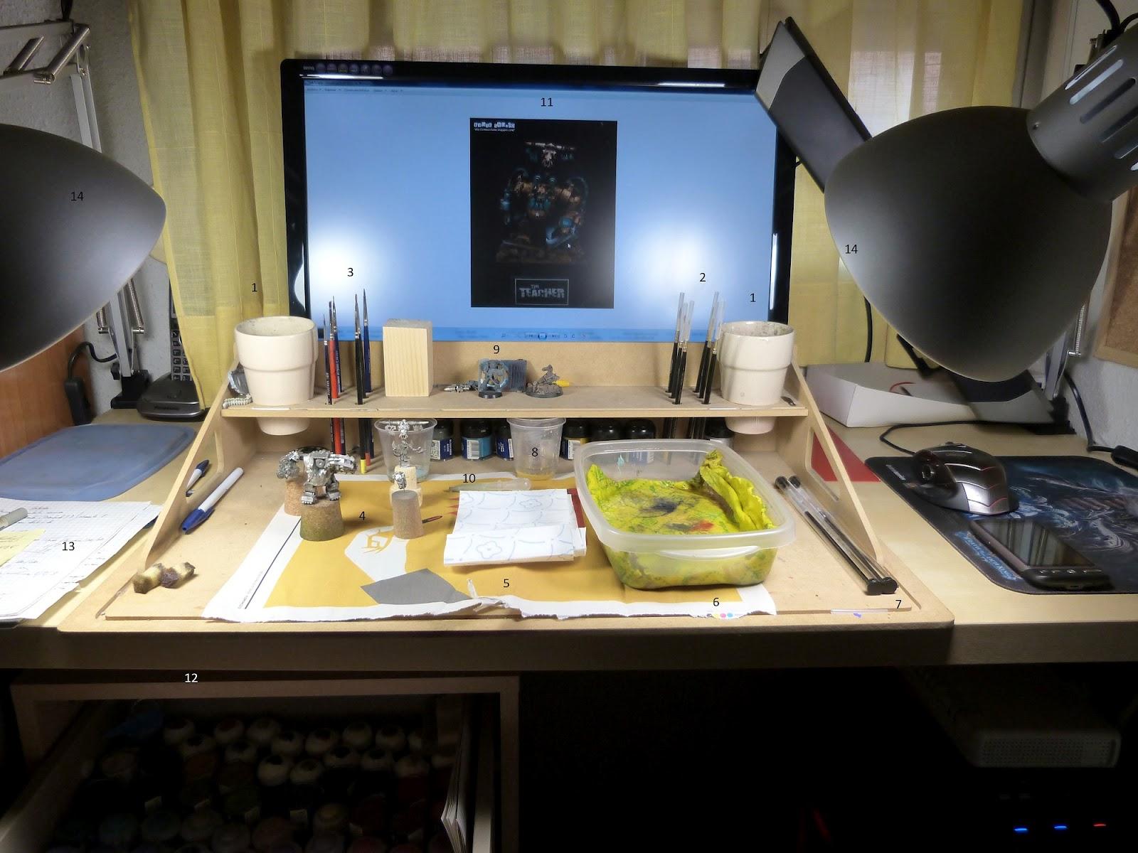 Kromma 39 s forge la mesa de trabajo pintura for Dimensiones de una mesa de trabajo