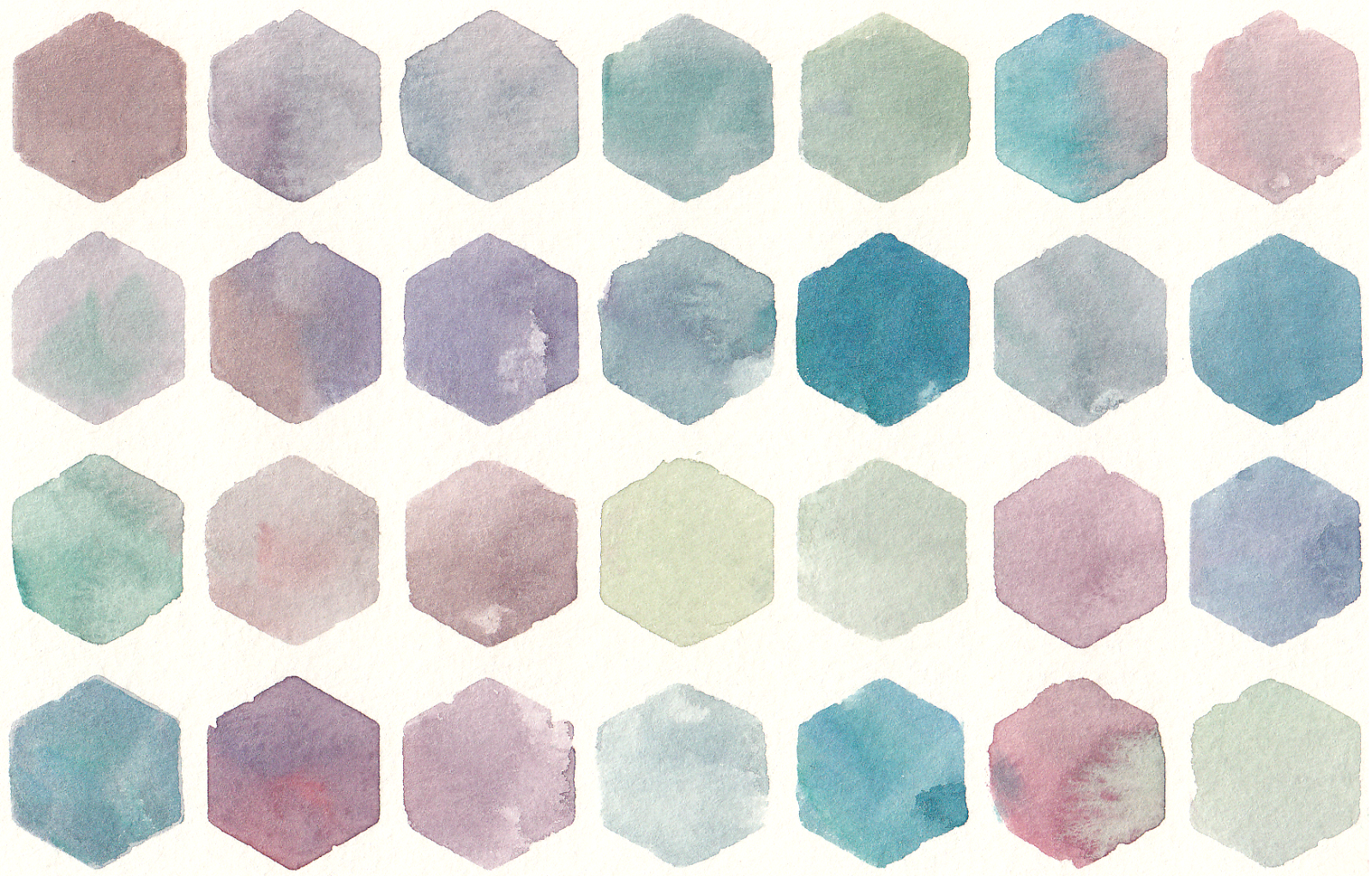 Free Watercolor Hexagon Pattern Clip Art