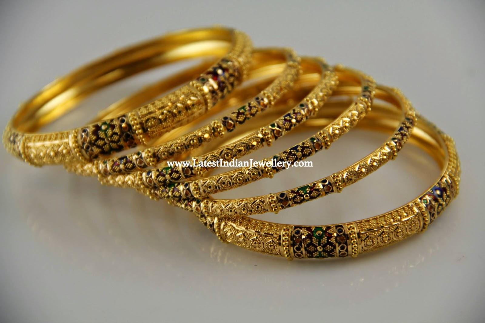 Latest 6 Piece Gold Bangles Set