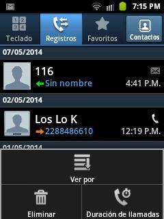registros de llamadas