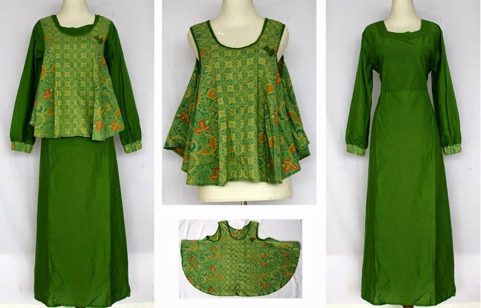 Contoh Baju Batik Gamis Kombinasi Orang Gemuk