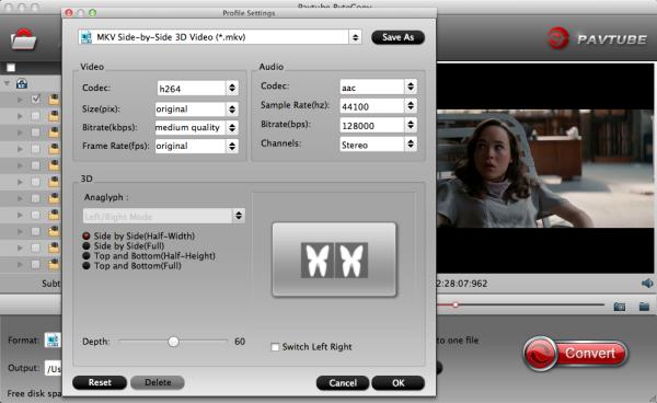 3D SBS MKV settings