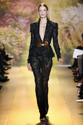 tailleur pantalon femme dentelle noir transparente défilé printemps été 2014 Haute couture Zuhair Murad