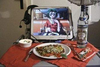kolacja, dziewczyna, komputer, kolacja, samotność