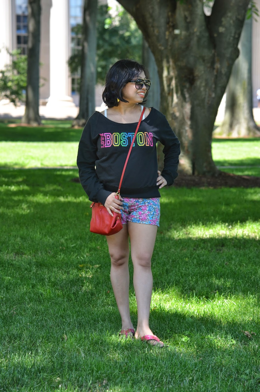 summer fashion, summer outfit, OOTD, outfits in Boston, Kohl's shorts, Kohl's Shoe, Firmoo sunglass, Coach bag