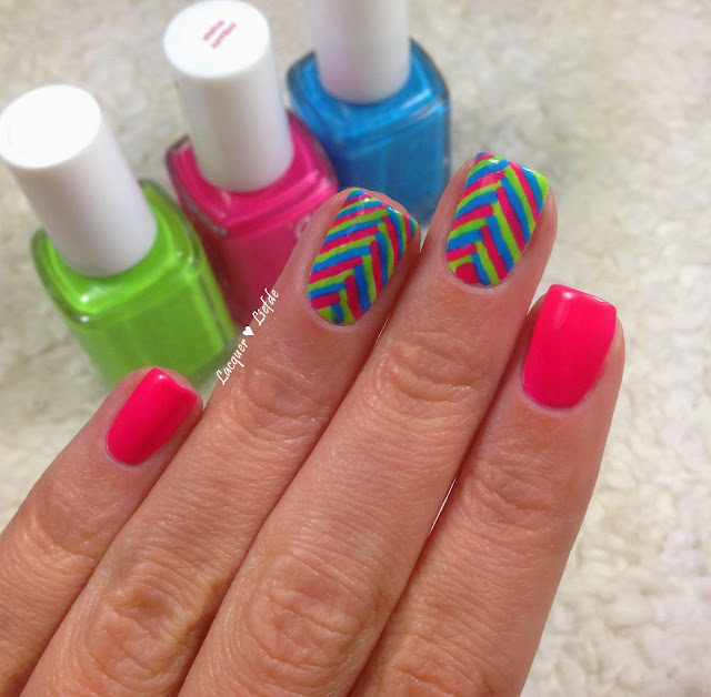 Essie Status Symbol Neon Fishtail Nail Design