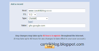 Cara Setup Blogspot ke Domain co.cc