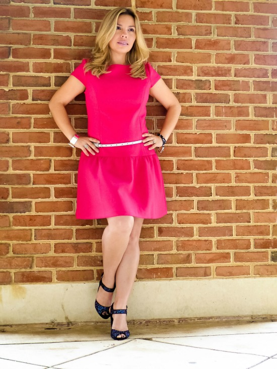 Live In Pink Peplum Dress and silver belt from The Loft, Blue Sparkle shoes from Schutz, bracelets from INPINK