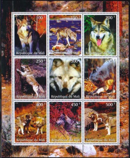 1998年マリ共和国 オオカミの切手シート
