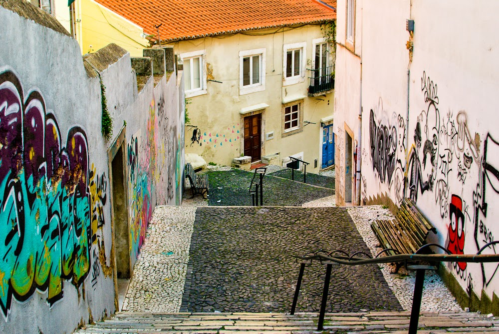 streets and walkways of lisbon