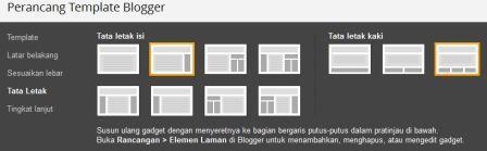 Cara memilih Tata letak yang sesuai pada Blogger