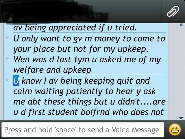 "See The Message A Girl Sent To His ""Stingy"" School Boyfriend (Screenshots)"