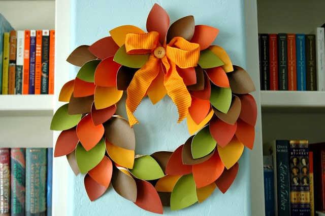 fall leaf paper Wreath