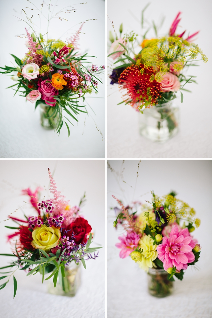 Gorgeous colourful wild flower centerpieces photos by STUDIO 1208