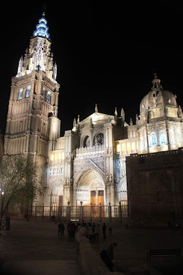 Cathedral of Toledo lit at night
