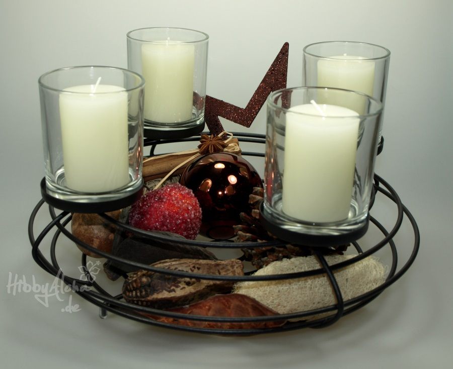 adventskranz aus metall dekorieren advent wreath candle holder metal 39 cm online kaufen bei. Black Bedroom Furniture Sets. Home Design Ideas