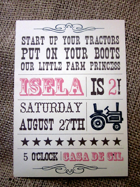 farm princess tractor party, invitation