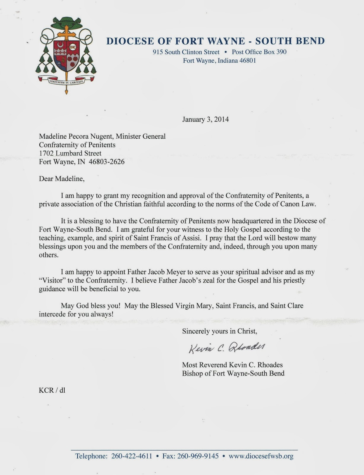 Confraternity of penitents blog letter from bishop kevin rhoades bishop kevin rhoades letter affirming canonical status of the confraternity of penitents altavistaventures Choice Image