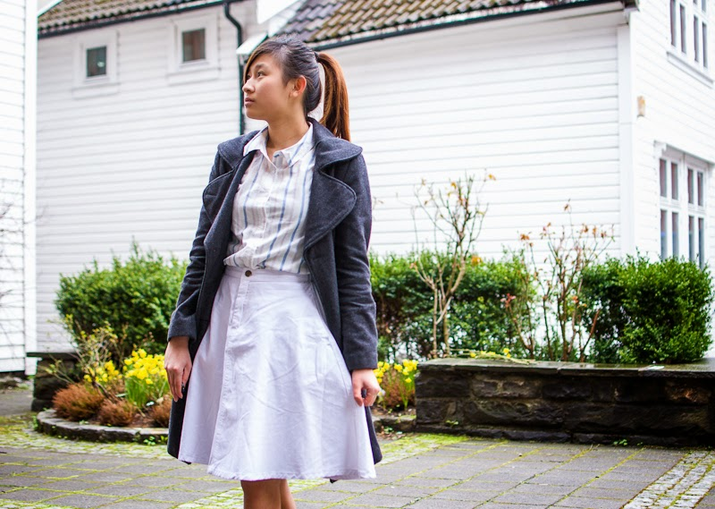 Bikbiok top and forever21 skirt white outfit