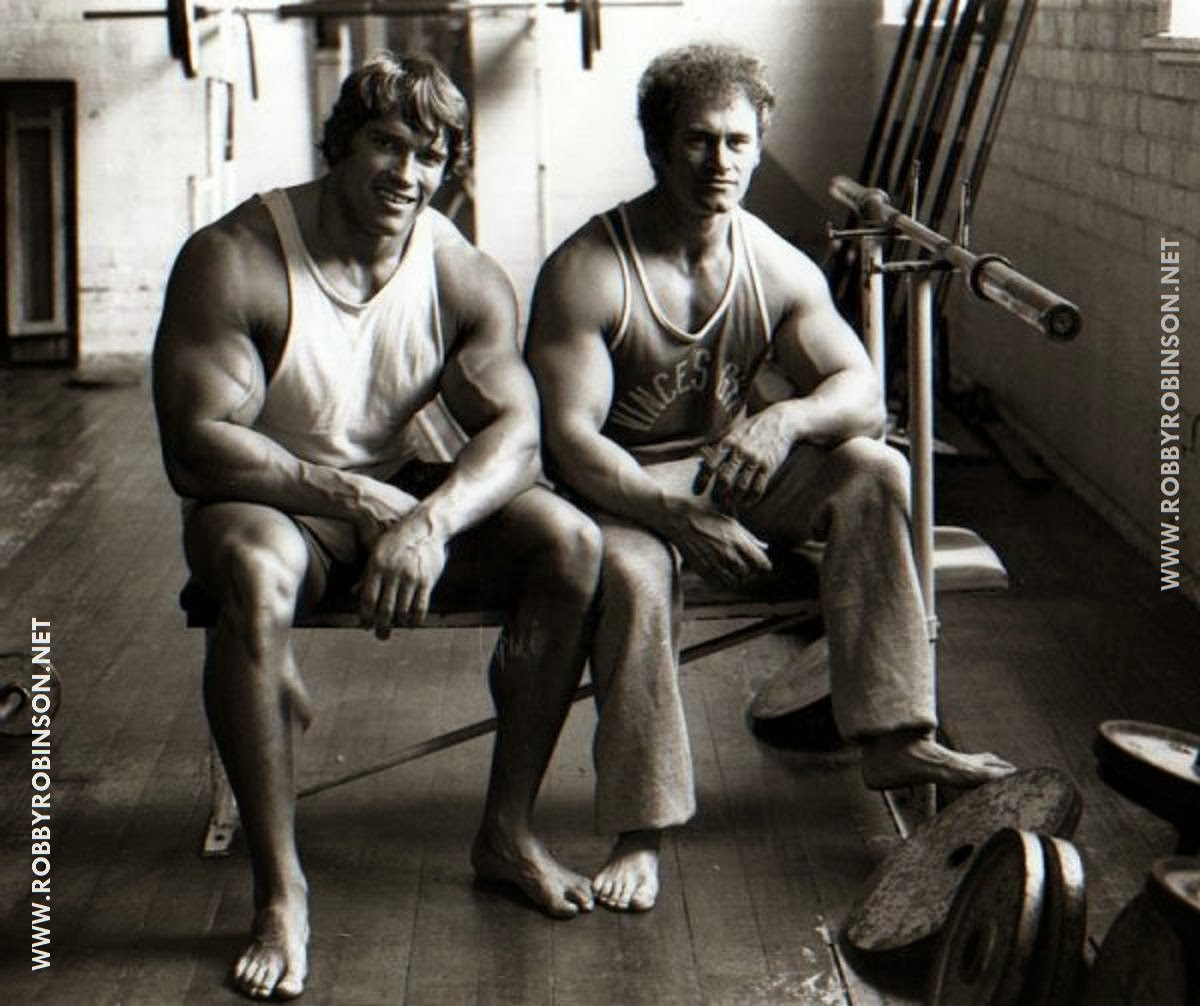 """THE AUSTRIAN OAK"" ARNOLD SCHWARZENEGGER AND ""THE IRON GURU"" VINCE GIRONDA -- WORKOUT AT VINCE'S GYM -- Read about RR's training and life experience, about other legends of Golden Era of bodybuilding and what really happened behind the scenes of Weider's empire - in RR's BOOK ""The BLACK PRINCE; My Life in Bodybuilding: Muscle vs. Hustle"" - ▶ www.robbyrobinson.net/books.php"