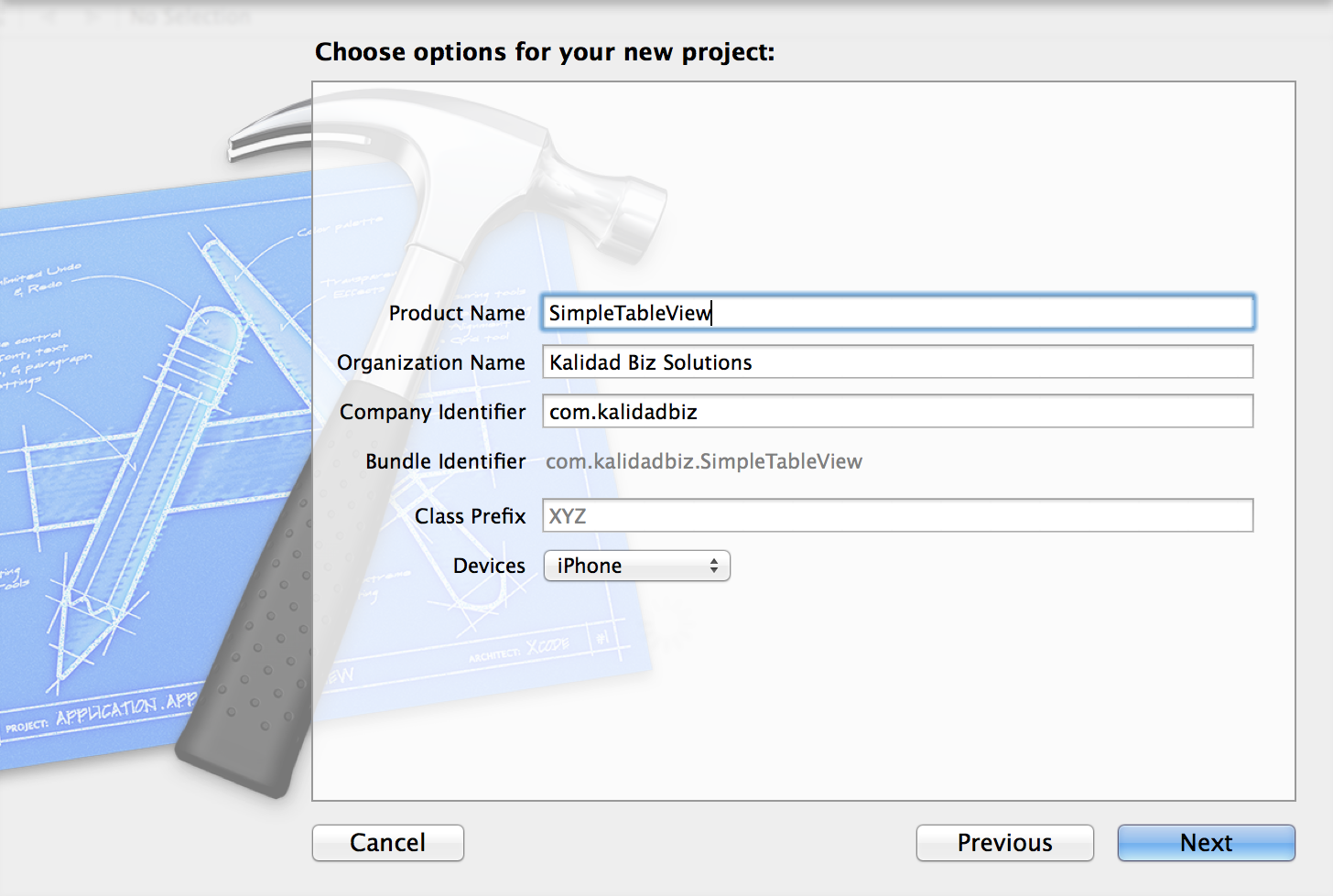 Create a simple table view app in xcode for Xcode 6 tableview