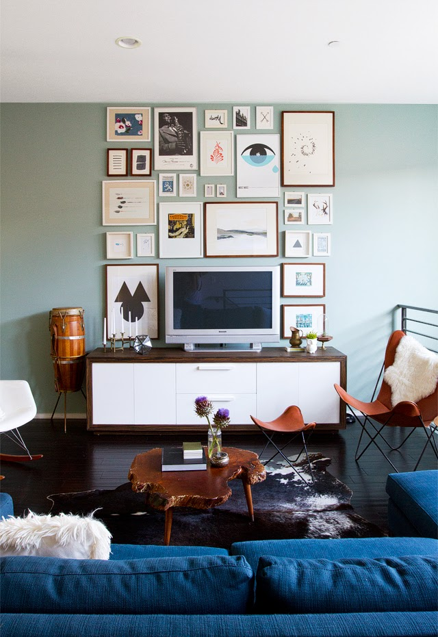 photo collage wall living room inspiration