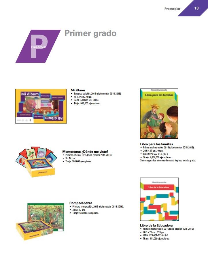 Libros de Texto Preescolar primer grado 2015-2016 - Catalago