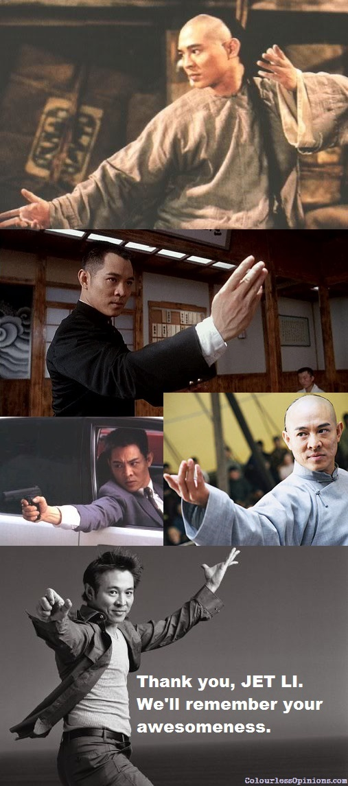Jet Li popular movie roles thank you