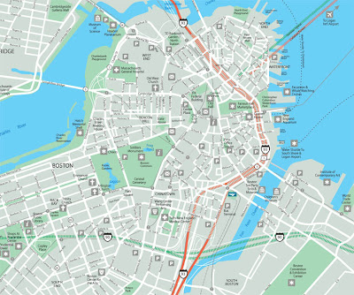 Map of Boston with lots of detail
