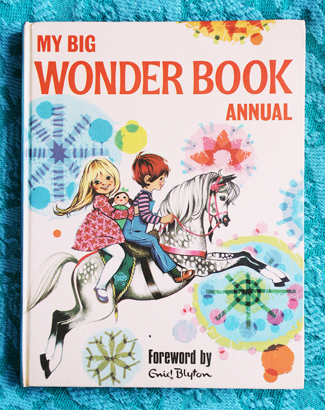 my big wonder book annual front cover, child on horse and patterned background