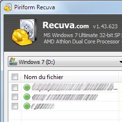 capture d'écran de Recuva