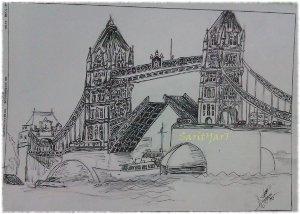 grafismo puente de londres blanco y negro