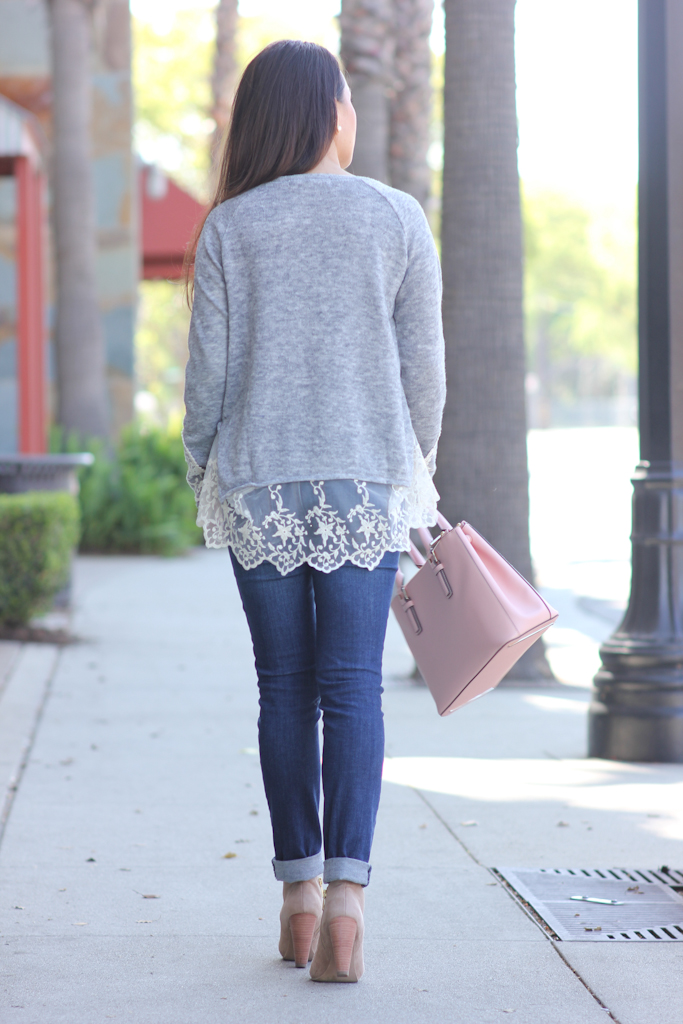 Grey Long Sleeve Lace Hem Sweater Loft distressed modern jeans Suede Ankle Booties Tory Burch pink mini Robinson purse