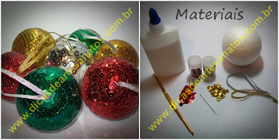 Bolinhas de natal personalizadas com isopor e lantejoulas