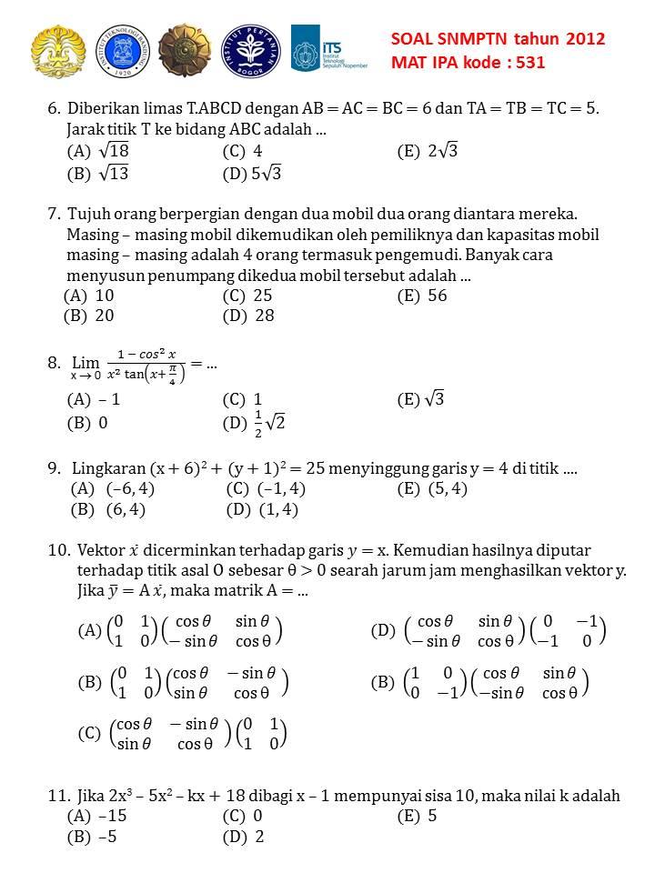 Soal Snmptn Mipa 2012 Kode 531 1000 Soal Matematika Uan