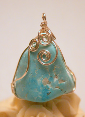 Wire wrapped pendant: silver, Turquoise :: All Pretty Things