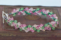 Rose Garden Wire Crochet Bracelet with Swarovski Elements