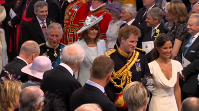 Prince Harry and Pippa Middleton followed by their parents. YouTube 2011.