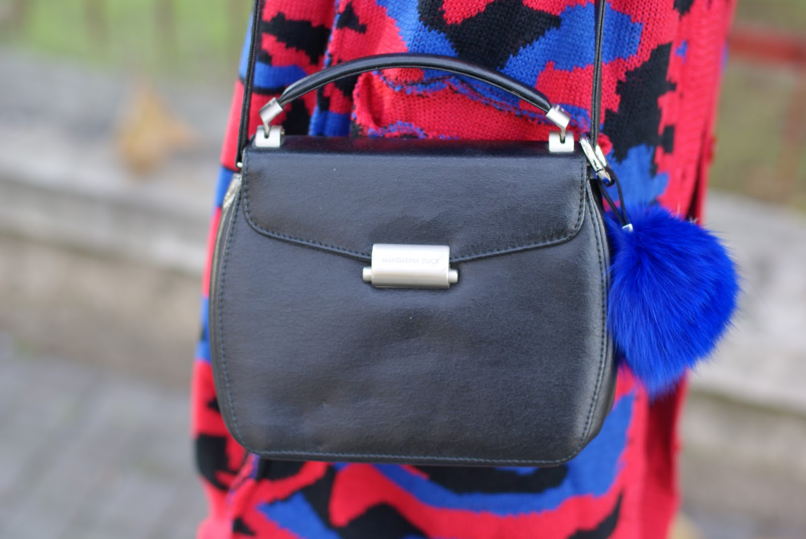 Mandarina Duck bag and furry charms on Fashion and Cookies fashion blog
