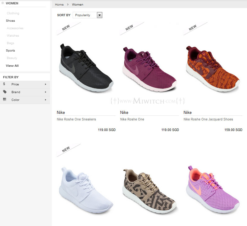 In the Nike Roshe Run page, there are shoes meant for men and women. Here  shows the ladies shoes... ok the lilac and white ones are signalling me to  get ...