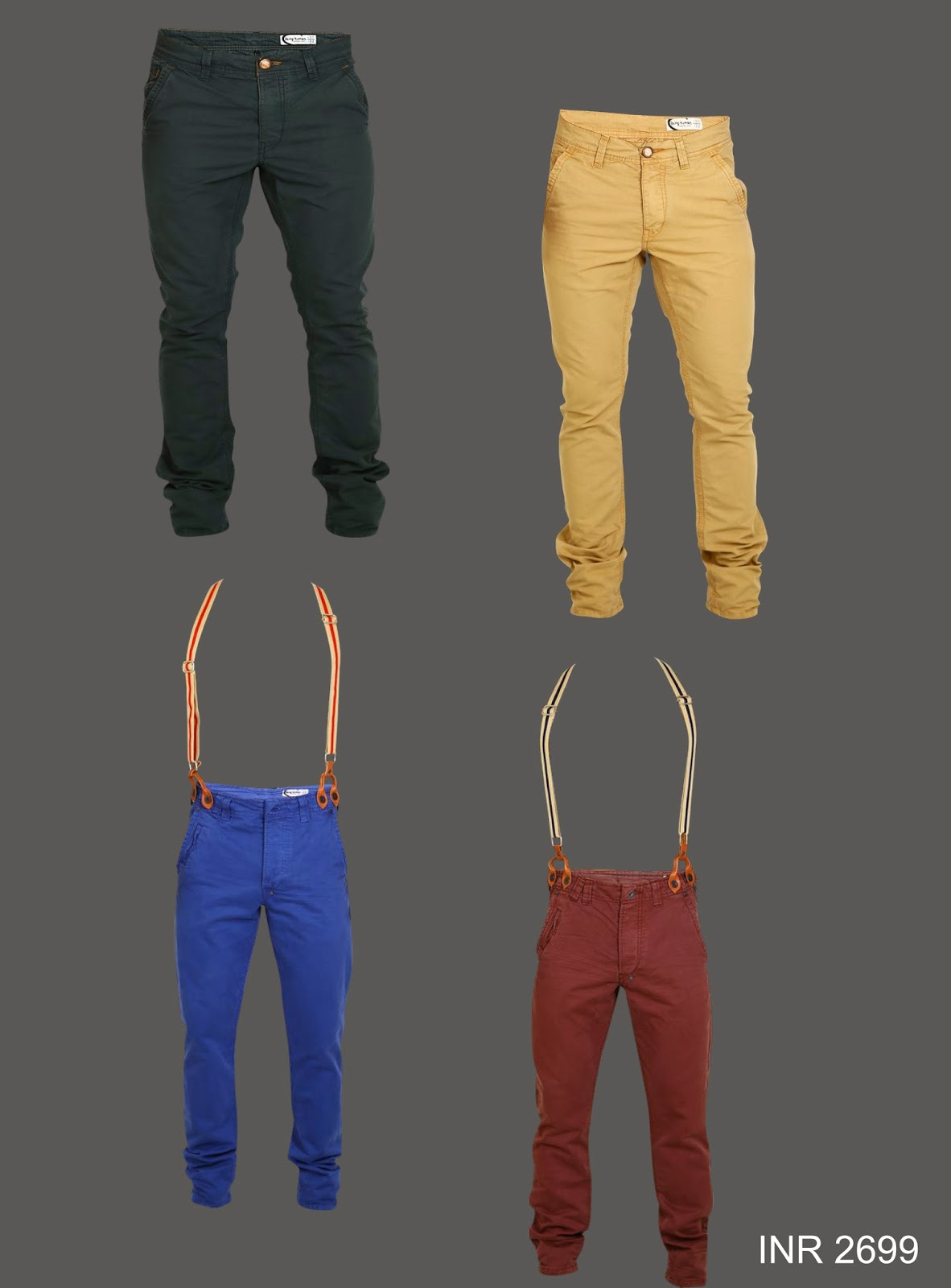 Pants get a stylish twist with some cool suspenders.