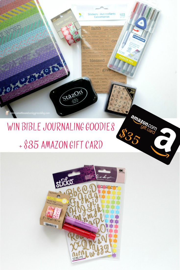 Enter to win a journaling Bible and journaling goodies from Pitter & Glink and Sweet Tea & Saving Grace! www.pitterandglink.com