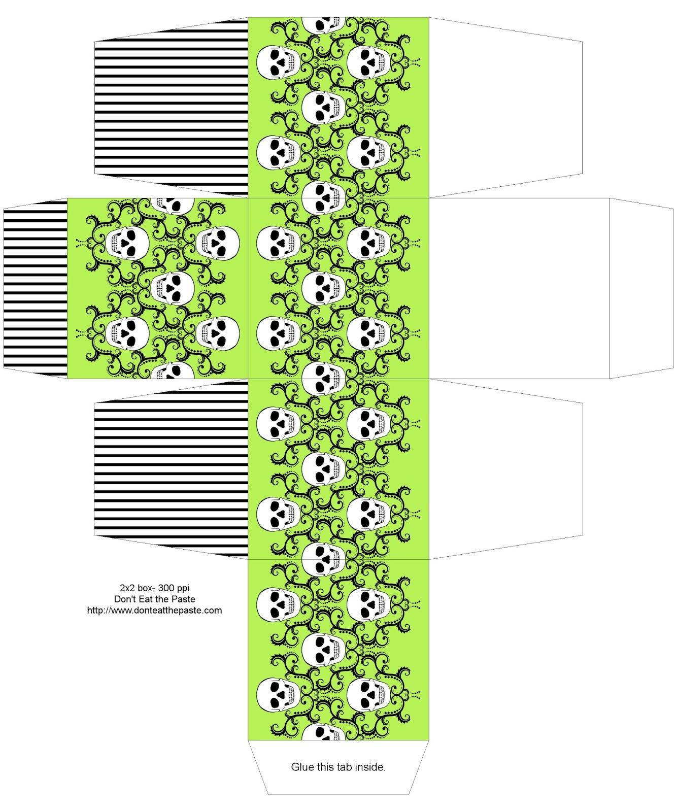 2x2x2 inch skull damask printable box