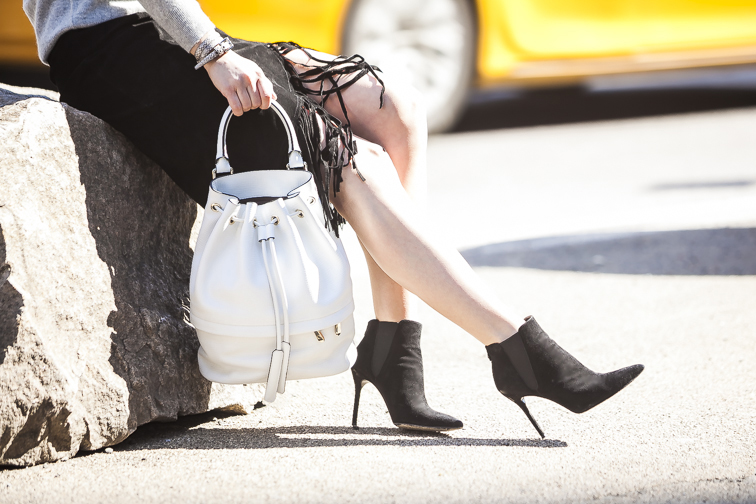 Luana Italy white leather Theo bucket bag, Stuart Weitzman suede pointed toe booties