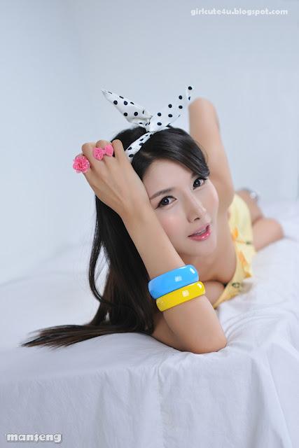 6 Cha Sun Hwa-Yellow Mini Dress-very cute asian girl-girlcute4u.blogspot.com