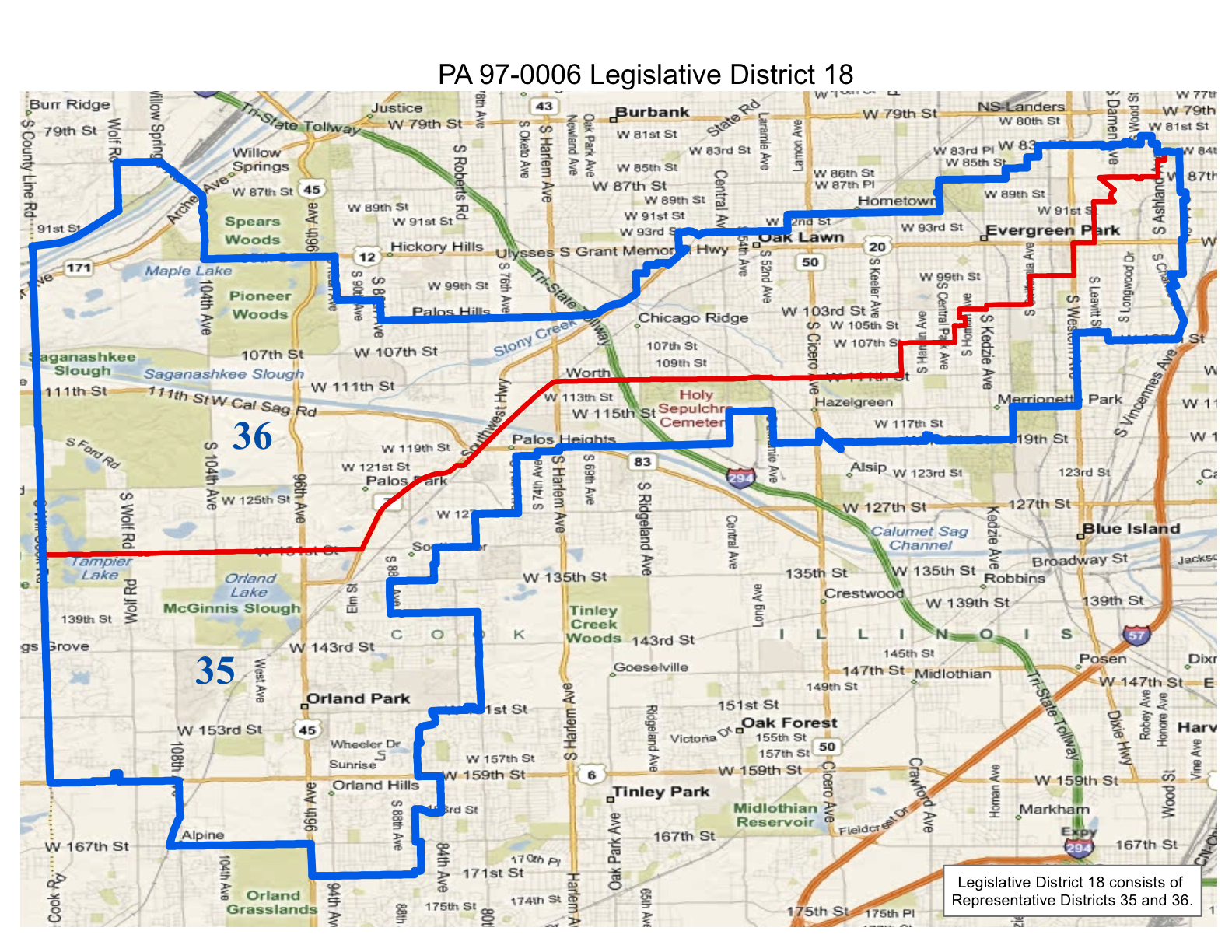 map of realigned illinois legislative district 18 and state representative districts 35 and 36