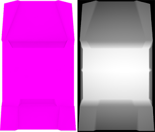a colour map of the vehicle on the left, and a 3D height map of the car on the right